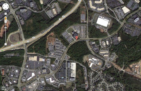 North Point Parkway Alpharetta where Nick Gordon was arrested for going 82 in a 35 mph zone