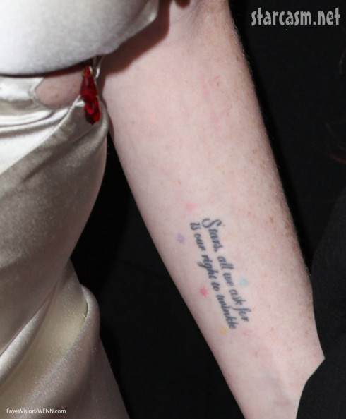 Linday Lohan stars deserve the right to twinkle tattoo quote colored stars