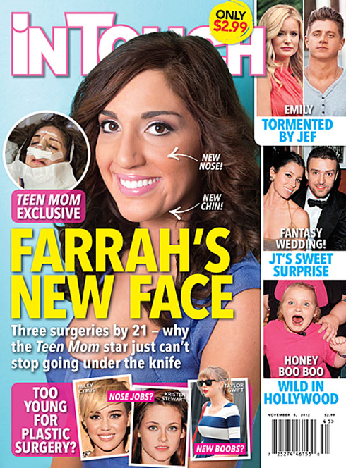 'Teen Mom' star Farrah Abraham after chin implant and nose job