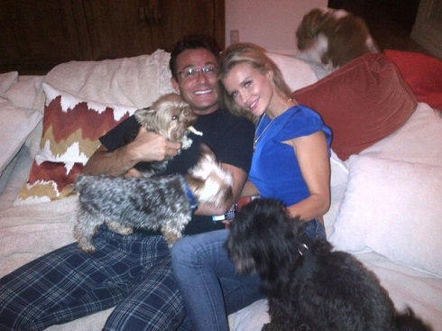 Romain Zago and Joanna Krupa with their dogs
