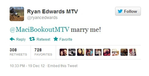 Ryan Edwards' proposal to Maci Bookout on Twitter