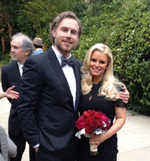 Eric Johnson and fiance Jessica Simpson attend Cacee Cobb's wedding