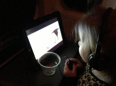 Chelsea Houska's daughter Aubree watching a movie