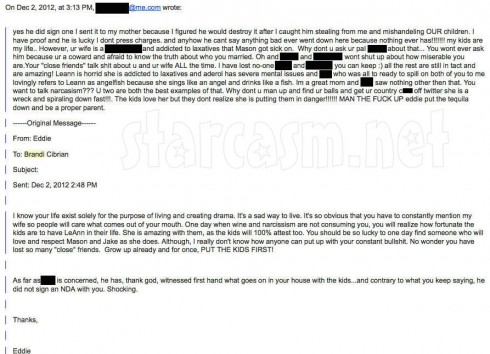Photo of emails between Brandi Glanville and Eddie Cibrian tweeted by the Real Housewives star