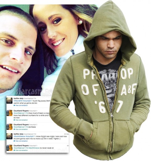 Courtland Rogers Jenelle Evans and Kieffer Delp in his green hoodie
