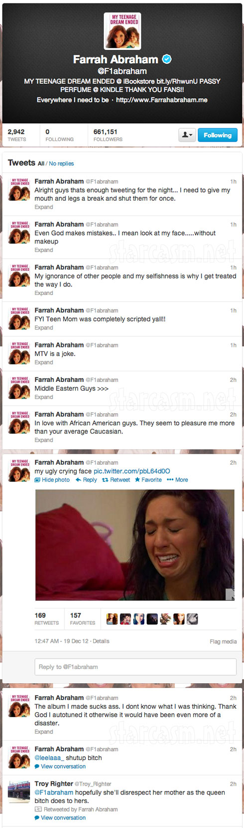 Screen caps of Teen Mom Farrah Abraham's hacked tweets