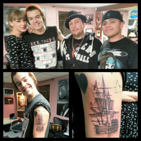 Harry Styles ship tattoo on his left arm with Taylor Swift
