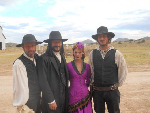 Sweetwater cast on set with Ed Harris Jason Isaacs January Jones