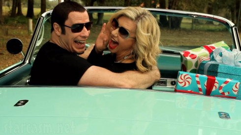 John Travolta Olivia Newton-John recreate Grease car scene for Christmas music video