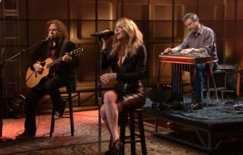 LeAnn Rimes performs Borrowed song about affair with Brandi Glanville's ex-husband Eddie Cibrian on The Tonight Show with Jay Leno