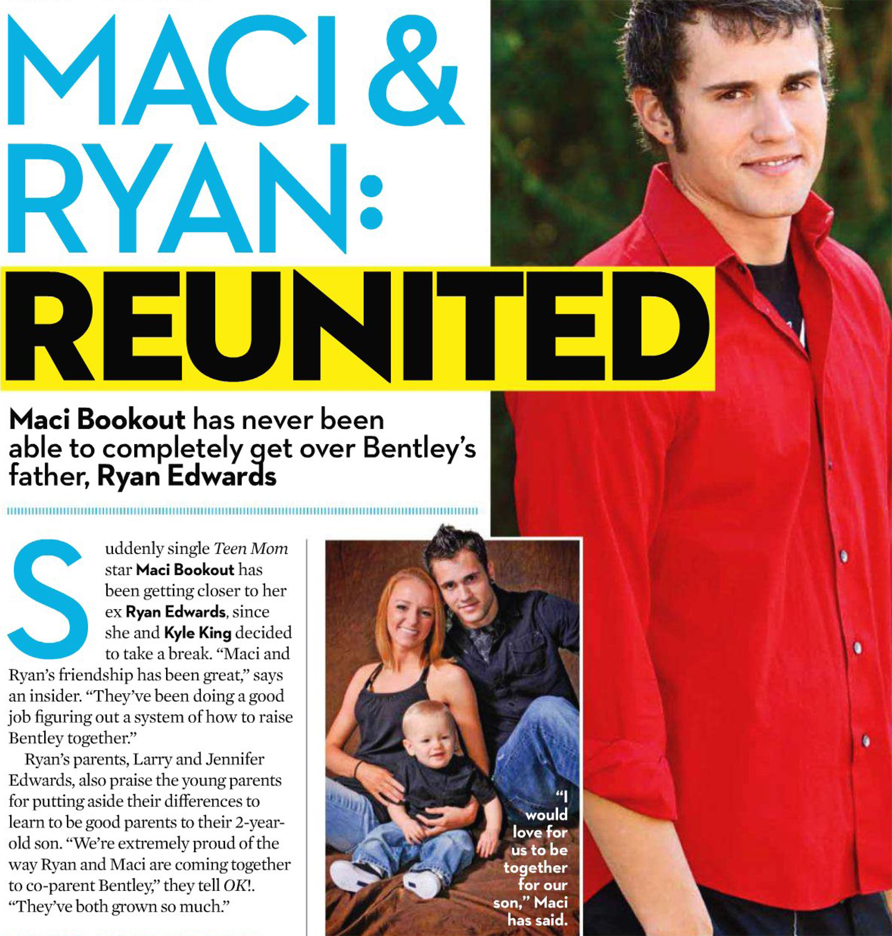 OK magazine story about Teen Mom Maci Bookout and Ryan Edwards getting