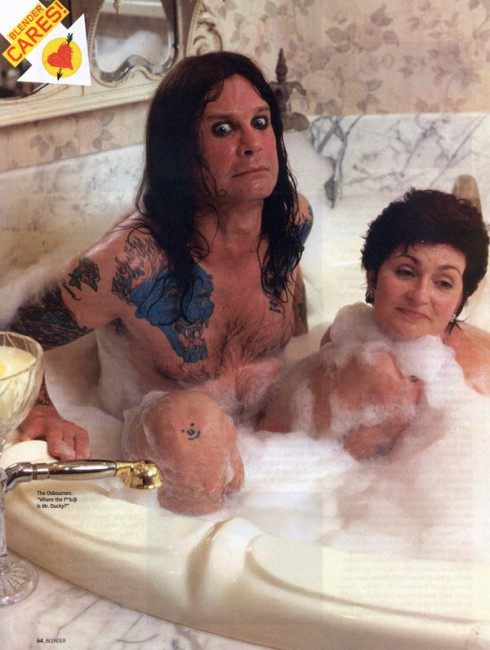 The Osbournes Ozzy and Sharon in a bathtub nude from Blender magazine