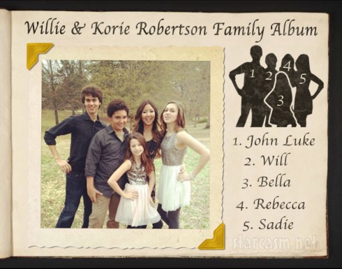Duck Dynasty Willie and Korie Robertson's children John Luke Will Rebecca Sadie and Bella