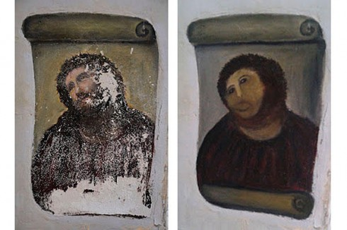 Botched Jesus fresco restoration done by Cecilia Giménez in Spain