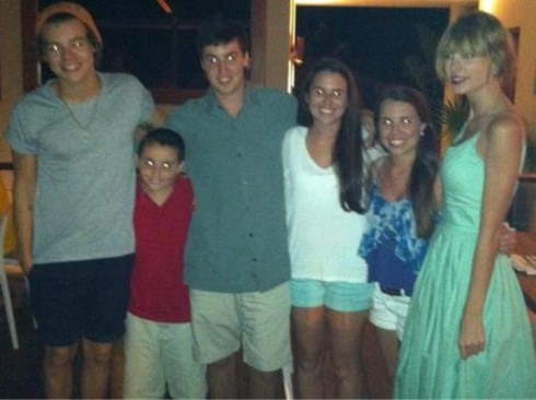 Harry Styles and Taylor Swift pose with fans on Virgin Gorda