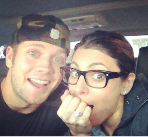 Cutter Dykstra and Jamie Lynn Sigler engagement photo and ring