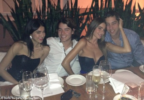 Modern Family's Sofia Vergara and Nick Loeb pose with friends on New Year's Eve in Miami before nightclub brawl