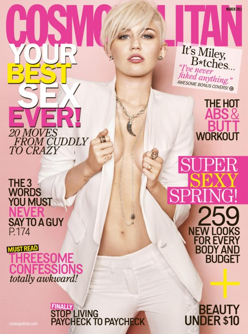 Miley Cyrus on Cosmopolitan Magazine's March 2013 issue
