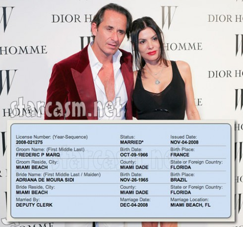 Real Hosuewives of Miami Adriana de Moura is already married to Frederic Marq - 2008 marriage license
