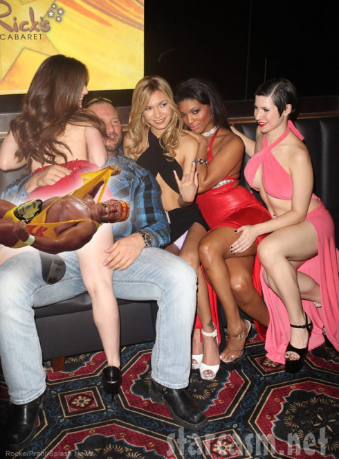 Bully Ray with strippers at his bachelor party held at Rick's Cabaret