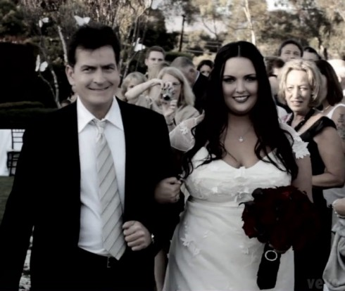 Charlie Sheen and daughter Cassandra Estevez Huffman wedding photo