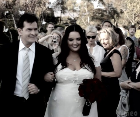 Charlie Sheen escorting her daughter Cassandra Estevez Huffman down the aisle at her wedding
