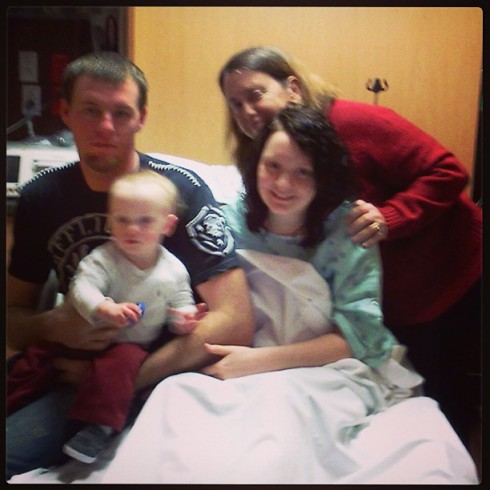 Pregnant Kristina Head and family waiting at thospital
