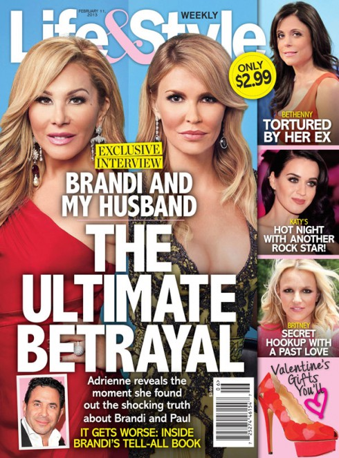 Adrienne Maloof Life and Style magazine cover The Ultimate Betrayal with Brandi Glanville February 11 2013