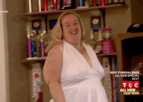 Mama June wearing Marilyn Monroe's famous white dress from The 7-Year Itch