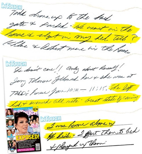 Robert Kardashian's diary hand-written journal from In Touch