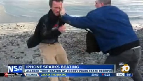 Kenneth Schmidgall iPhone thief brawl video Youtube