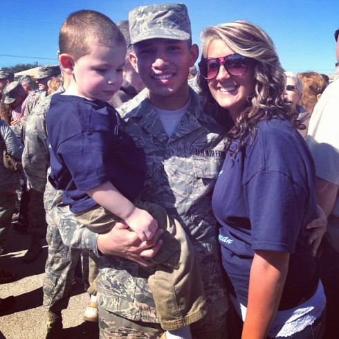 Javi Marroquin in uniform with his wife Kailyn Lowry's son Isaac