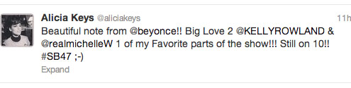 Alicia Keys responds to Beyonce Super Bowl note on Twitter