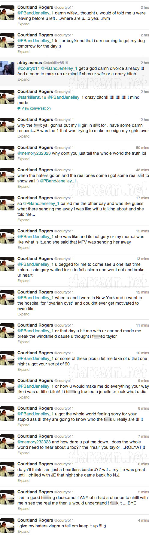 Corutland Rogers tweets that MTV is sending Jenelle to rehab like facility for 30 days