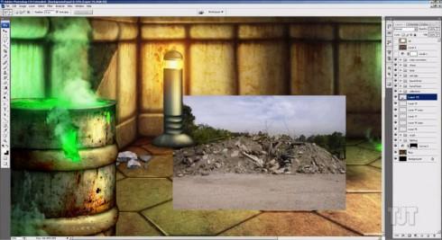 Doom Photoshop video screen shot 2 rocks