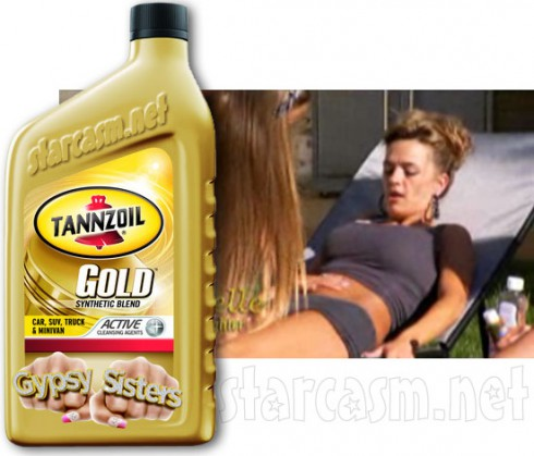 Kayla from Gyspy Sisters uses motor oil as tanning lotion