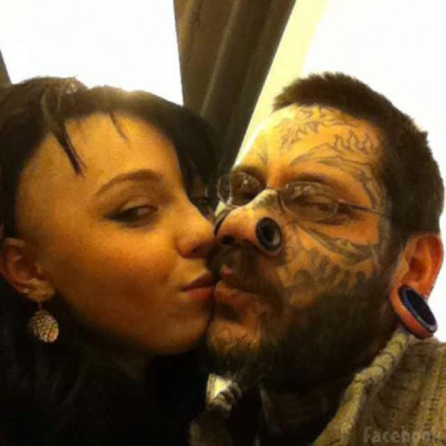 Lesya and fiance Rouslan Toumaniantz before her Ruslan face tattoo