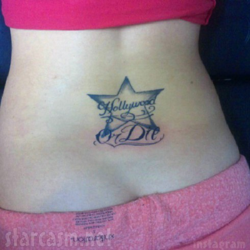 Mellie Stanley Hollywood star tramp stamp back tattoo