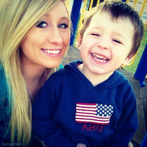 Nikkole Paulun and son Lyle in January 2013
