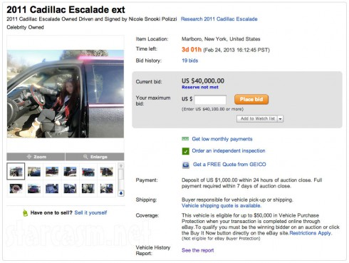 Snooki auctioning off her Cadillac Escalade on eBay