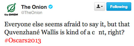 The Onion's tweet about Quvenzhane Wallis