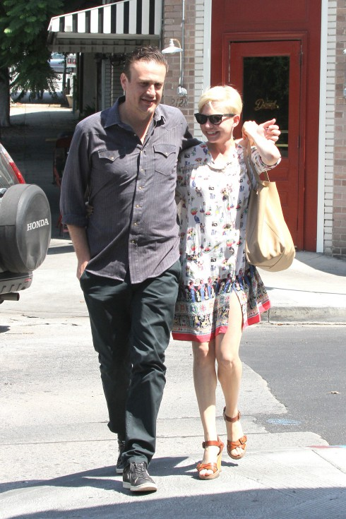 Jason Segel and Michelle Williams are seen leaving Little Dom's in Los Feliz Los Angeles, California.