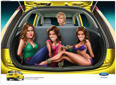 Ford Figo ad with Khloe Kourtney and Kim Kardashian and Paris Hilton driving