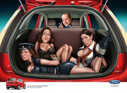 Indian Ford Figo ad with former Italian Prime Minister Silvio Berlusconi and what appears to be 3 prostitutes bound and gagged in the back of the car