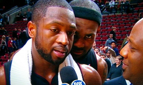 LeBron James photobombs Dwyane Wade