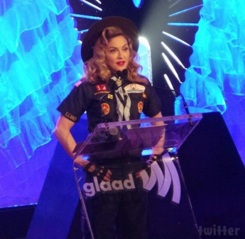 Madoonna GLAAD Media Awards 2013 boy scout uniform
