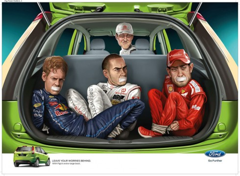 Ford Figo ad with Formula One drivers Michael Schumacher, Sebastian Vettel, Lewis Hamilton and Fernando Alonso