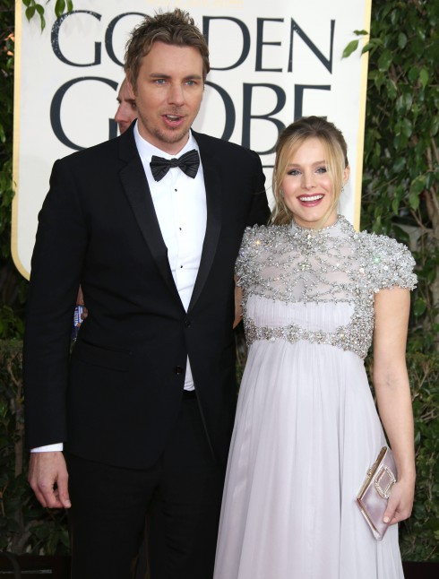 Dax Shepard and pregnant fiance Kristen Bell at the 70th Annual Golden Globe Awards held at the Beverly Hilton Hotel in Beverly Hills, California, United States.