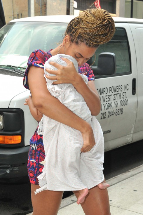Beyonce Knowles carrying her daugher Blue Ivy Carter in Manhattan in New York City, USA.