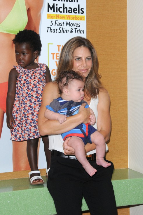 Jillian Michaels with her daughter Lukensia and her son Phoenix at the celebration of her 'Shape' cover and her Bodyshred Workout at Crunch Gum New York City, USA.